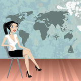 Business woman with world map Royalty Free Stock Photo