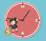 Business woman  Worried executive running against on an arrow of clock Stock Photo