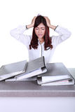 Business woman worried with folder documents on desk Royalty Free Stock Photo