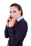 Business woman worried on phone Stock Photography