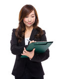 Business woman write on clipboard Royalty Free Stock Photos