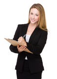 Business woman write on clipboard Stock Photography