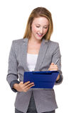 Business woman write on clipboard Stock Images