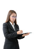 Business woman write on clipboard Royalty Free Stock Image