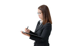Business woman write on clipboard Royalty Free Stock Photo