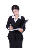 Business woman write information on clipboard isolated on white Stock Image