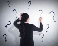Business woman write question mark on the wall Royalty Free Stock Image