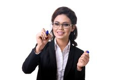 Business woman writes marker on glass. With pen royalty free stock image