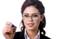 Business woman writes marker on glass. With pen royalty free stock photos