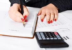 Business Woman writing Stock Photos