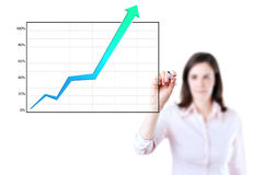 Business woman writing achievement graph. Stock Photos