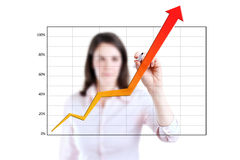 Business woman writing achievement graph. Royalty Free Stock Image
