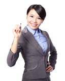 Business woman writing in the air Royalty Free Stock Images