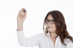 Business woman writing with black marker pen Royalty Free Stock Photos