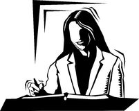 Business woman writing. Black and white clipart illustration of a business woman writing Royalty Free Stock Photo