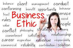 Business woman writing business ethic concept. Iso. Lated on white Royalty Free Stock Images