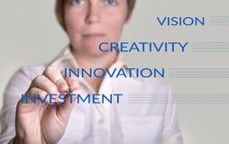 Business woman writing business model Stock Photo