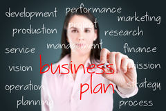 Business woman writing business plan concept. Royalty Free Stock Photos
