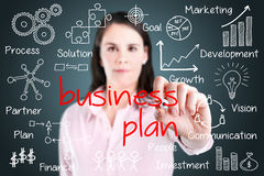 Business woman writing business plan concept. Stock Image