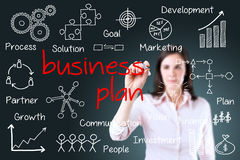 Business woman writing business plan concept. Stock Photography