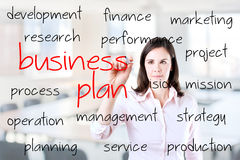 Business woman writing business plan concept. Royalty Free Stock Photography