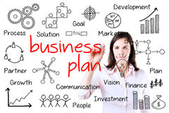 Business woman writing business plan concept. Royalty Free Stock Image