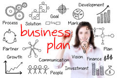 Business woman writing business plan concept. Stock Photo