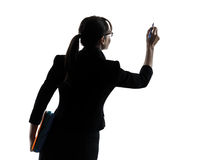 Business woman writing copy space  silhouette Royalty Free Stock Photos