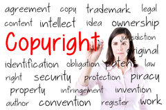Business woman writing copyright concept. Isolated on white. stock photo