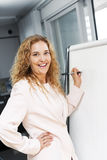 Business woman writing on flip chart Stock Photography