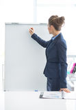 Business woman writing on flipchart Stock Images