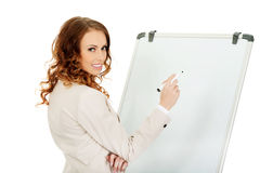 Business woman writing on flipchart. Royalty Free Stock Photography