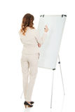 Business woman writing on flipchart. Royalty Free Stock Photos