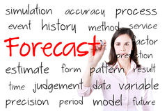 Business woman writing forecast concept. Isolated on white. Business woman writing forecast concept. Isolated on white Stock Images
