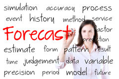 Business woman writing forecast concept. Isolated on white. Stock Images
