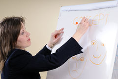 Business woman writing happy sad concepts Stock Photo