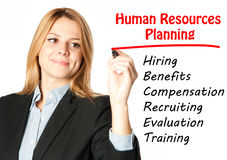 Business woman writing human resources planning Royalty Free Stock Photo