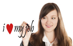 Business woman writing I love my Job Royalty Free Stock Images