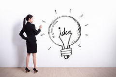 Business woman writing idea Royalty Free Stock Photos