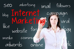 Business woman writing internet marketing concept. Blue background. Royalty Free Stock Images
