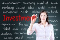 Business woman writing investment concept. Blue background. Stock Photo
