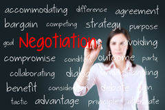 Business woman writing negotiation concept. Blue background. Royalty Free Stock Photography