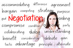 Business woman writing negotiation concept. Isolated on white. Royalty Free Stock Photo