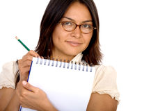 Business woman writing on a notepad Stock Photography