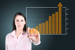 Business woman writing over achievement bar chart. Royalty Free Stock Photos