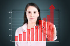 Business woman writing over achievement bar chart. Royalty Free Stock Photo