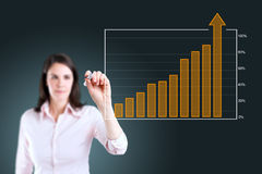 Business woman writing over achievement bar chart. Stock Photos
