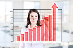 Business woman writing over achievement bar chart Stock Images