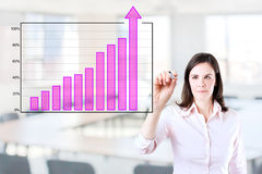 Business woman writing over achievement bar chart Royalty Free Stock Photo