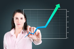 Business woman writing over achievement graph. Royalty Free Stock Photo